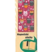 Albi Original Magnetická záložka do knížky Sovičky na růžové 9 x 4,5 cm