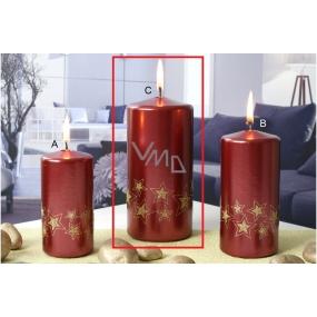 Lima Starlight svíčka zlatá/červená 70 x 150 mm 1 kus