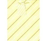 Ditipo Dárková papírová taška střední žlutá bílo-hnědé čáry 18 x 23 x 10 cm