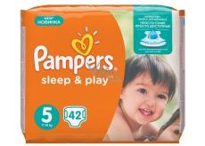 Pampers Sleep & Play 5 Junior 11 - 18 kg plenkové kalhotky 42 kusů