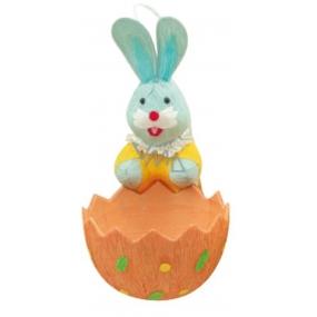 Zajíček s košíčkem oranžovým 12 x 6 cm