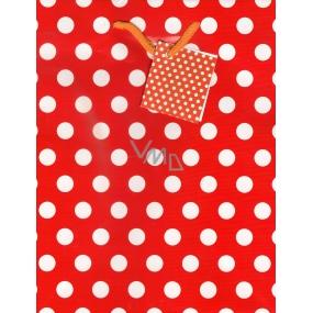Nekupto Dárková papírová taška střední 23 x 18 x 10 cm červená bílý puntík 1 kus 1148 30 KFM