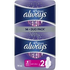 Always Platinum Ultra Super Plus Duo hygienické vložky s křidélky 14 kusů
