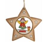 Albi Dřevěná vyřezávaná vánoční ozdoba Anděl ve hvězdičce 9 x 10 cm