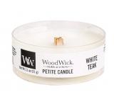 WoodWick White Teak - Bílý teak vonná svíčka s dřevěným knotem petite 31 g