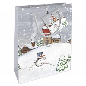 Nekupto Dárková papírová taška 14 x 11 x 6,5 cm Vánoční zimní krajina sněhulák WBS 1914 02