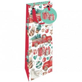 Nekupto Dárková papírová taška na láhev luxusní 13 x 33 cm Vánoční auto se stromkem WILH 1984