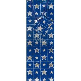 Nekupto Dárková papírová taška na láhev 33 x 10 x 9 cm modré hvězdy GLH