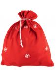 Mikuláš / Santa pytel červený s vločkami 90 x 60 cm