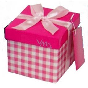 Anděl Dárková krabička skládací s mašlí světle růžová kostka 10 x 10 x 10 cm 1 kus