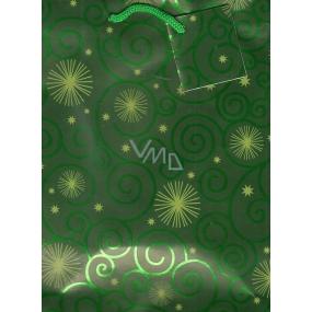 Nekupto Dárková papírová taška střední 23 x 18 x 10 cm zelená s kolečky 040 51 GM