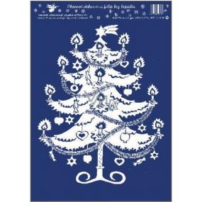 Room Decor Okenní fólie bez lepidla bílá vánoční stromek 33 x 23 cm