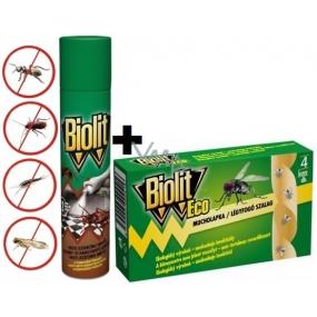 Biolit P Proti lezoucímu hmyzu s desinfekční přísadou sprej 400 ml + Biolit Eco mucholapka 4 kusy