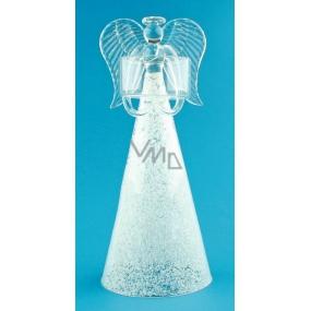 Anděl skleněný na svíčku 19,5 cm