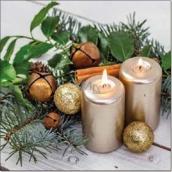 Aha Vánoční papírové ubrousky 2 svíčky, skořice a ozdoby 3 vrstvé 33 x 33 cm 20 kusů