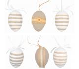 Vajíčka plastová na zavěšení 6 cm, 6 kusů v sáčku