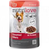 Nutrilove Dušené filetky se šťavnatým hovězím v omáčce kompletní krmivo pro psy kapsička 85 g