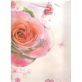 Taška dárková velká s růží 32 x 26 x 12 cm 1 kus 10150