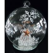 Koule skleněná s andělem svítící Led 11 cm