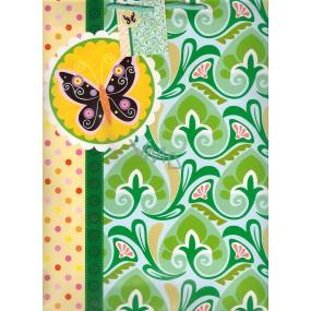 Nekupto Dárková papírová taška velká 32,5 x 26 x 13 cm zelená motýl 1 kus 1011 50 KAL