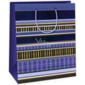 Ditipo Dárková papírová taška velká modro - žluté pruhy 26,4 x 13,6 x 32,7 cm AB