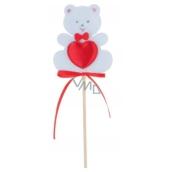 Medvídek z filcu se srdíčkem bílý zápich 6,5 cm + špejle
