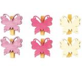Dřevění motýli s kolíčkem fialová, růžová, bílá 4 cm 6 kusů