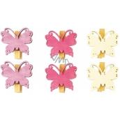 Motýli dřevění s kolíčkem fialová, růžová, bílá 4 cm 6 kusů