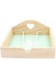 Nekupto Home Decor Dřevěná krabička na ubrousky pírka 18,5 x 18,5 x 7,5 cm