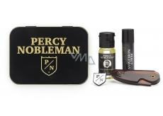Percy Nobleman Stylingový vosk na vousy 5 ml + skládací cestovní hřebínek na vousy a knír + vyživující olejový kondicionér na vousy 10 ml + brož s logem Percy Nobleman, pro muže sada na vousy