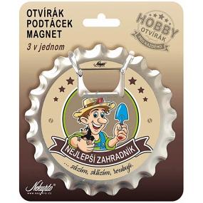 Nekupto Hobby 3v1 otvírák, podtácek, magnet Nejlepší zahradník 10 cm