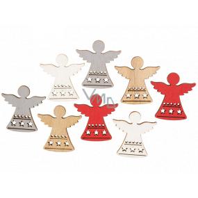 Anděl dřevěný červeno-stříbrno-bílo-hnědý 3,5 cm 8 kusů