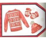 Nekupto Vánoční kartičky na dárky Svetr, čepice a rukavice 5,5 x 7,5 cm 6 kusů