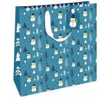 Nekupto Dárková papírová taška luxusní 33 x 33 cm Vánoční modrá se sněhuláky WLIL 1977