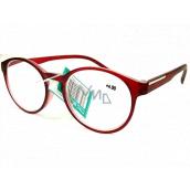 Berkeley Čtecí dioptrické brýle +4,0 plast červené průhledné mat, kulaté skla 1 kus MC2182