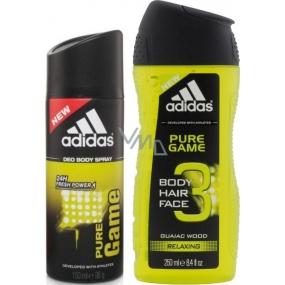 Adidas Pure Game deodorant sprej pro muže 150 ml + 3v1 Body Hair Face sprchový gel na tělo, tvář a vlasy pro muže 250 ml, duopack