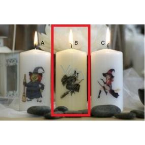 Lima Čarodějnice černá svíčka s potiskem válec bílá 50 x 100 mm 1 kus