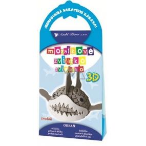 Prostorové zvířátko z mozaiky Žralok 10,5 x 21,5 x 4 cm