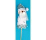 Zápich bílá figurka Santa 8 cm + špejle