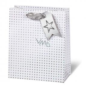 BSB Luxusní dárková papírová taška 23 x 19 x 9 cm Vánoční holografické hvězdy VDT 412 - A5