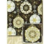 Nekupto Dárkový balicí papír 70 x 200 cm Vánoční Černý, stříbrný, zlaté koule