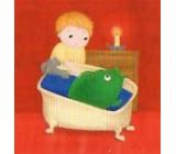 Nekupto Vánoční kartičky na dárky Kapr ve vaně 6,5 x 6,5 cm 6 kusů