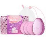Glov Stardust znovupoužitelné odličovací tampony 3 kusy + kartáč na vlasy + pytlík na praní tamponů + hvězdičková kosmetická taštička, kosmetická sada