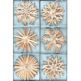 Slaměné dekorace vločky se stříbrnými glitry 12 kusů