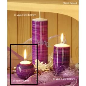 Lima Twist svíčka fialová koule 60 mm 1 kus
