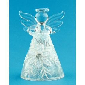 Anděl skleněný na postavení s vločkou 8 cm