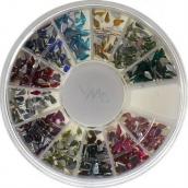 Professional Ozdoby na nehty kamínky barevné kapky 12 barev, BH 118 cca 1200 kusů