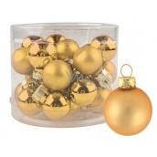 Baňky skleněné zlaté sada 2 cm, 12 kusů
