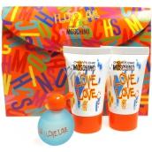 Moschino I Love Love Set De Luxe toaletní voda 4,9 ml + sprchový gel 25 ml + tělové mléko 25 ml, dárková sada