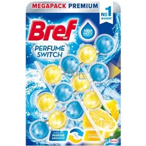 Bref Perfume Switch Marine-Citrus WC blok s vůní svěžesti a citrusu efekt změny vůně 3 x 50 g